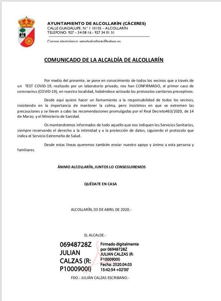 Primer positivo por coronavirus en Alcollarín (Cáceres) 2020