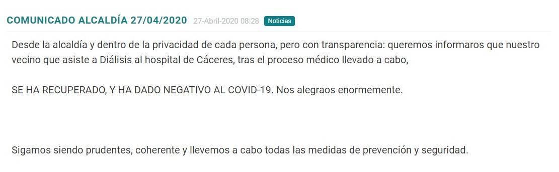 Primer recuperado por coronavirus 2020 - Madrigalejo (Cáceres)