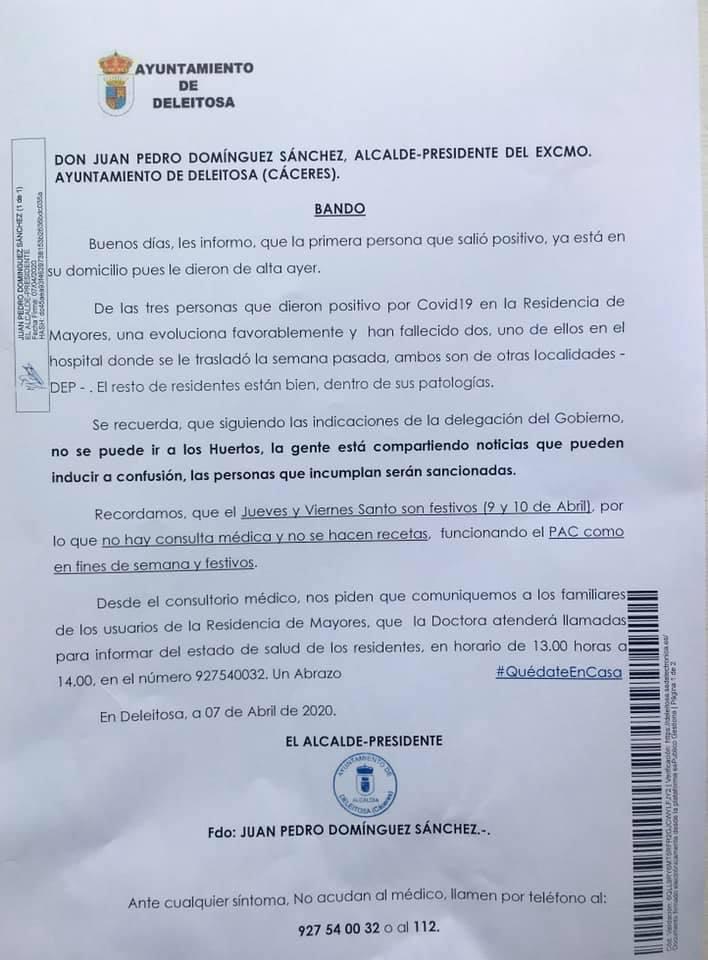 Primer y segundo fallecido por coronavirus en Deleitosa (Cáceres) 2020