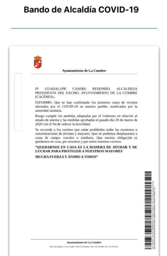 Primeros positivos por coronavirus en La Cumbre (Cáceres) 2020