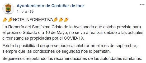 Se suspende la romería del Santísimo Cristo de la Avellaneda 2020 - Castañar de Ibor (Cáceres)