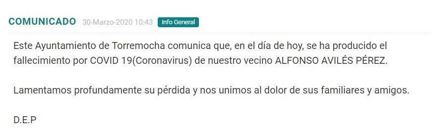 Segundo fallecido por coronavirus en Torremocha (Cáceres) 2020