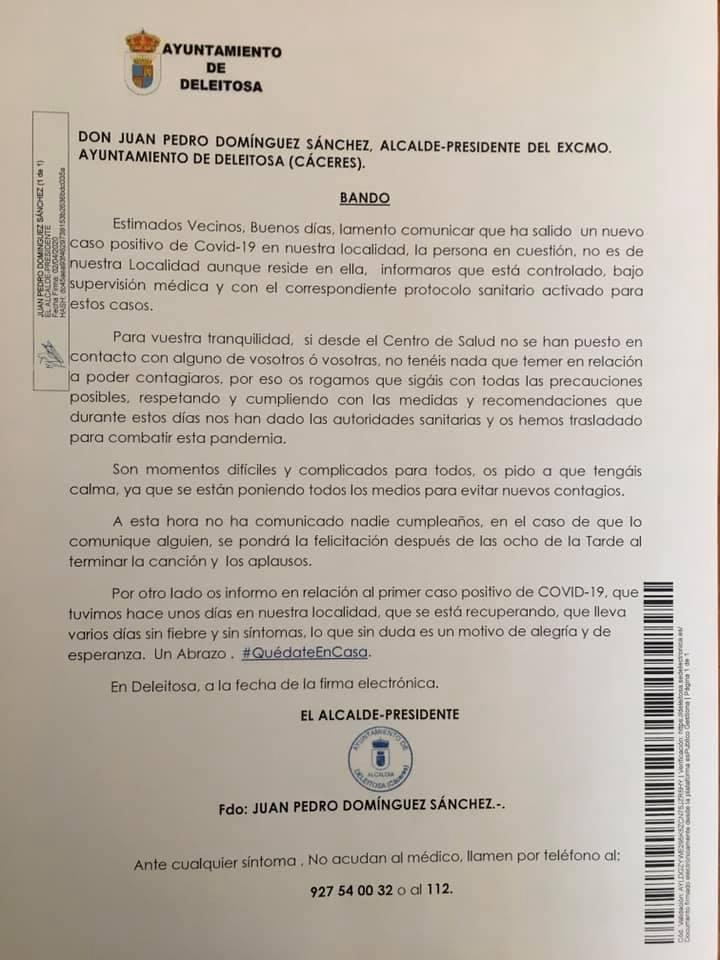 Segundo positivo por coronavirus en Deleitosa (Cáceres) 2020