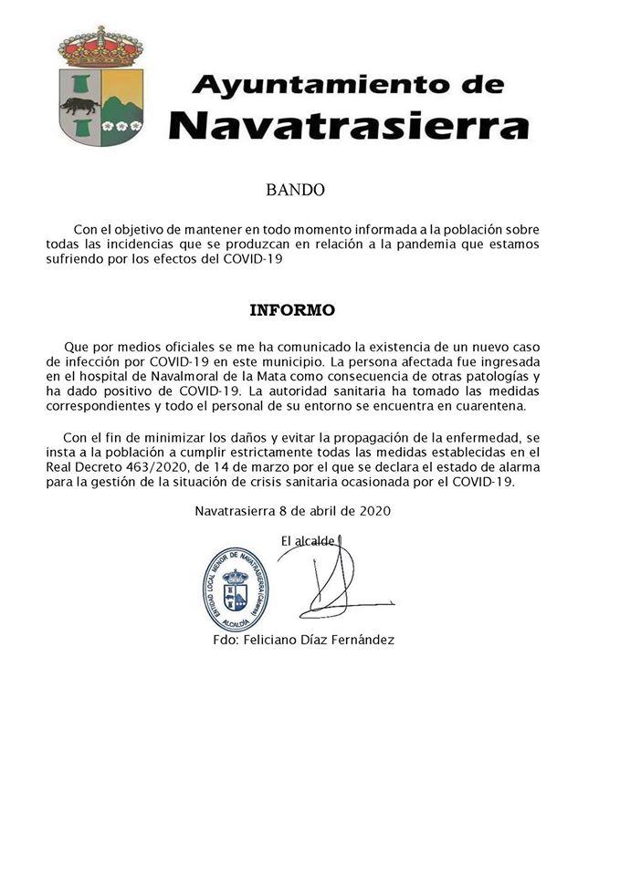 Segundo positivo por coronavirus en Navatrasierra (Cáceres) 2020
