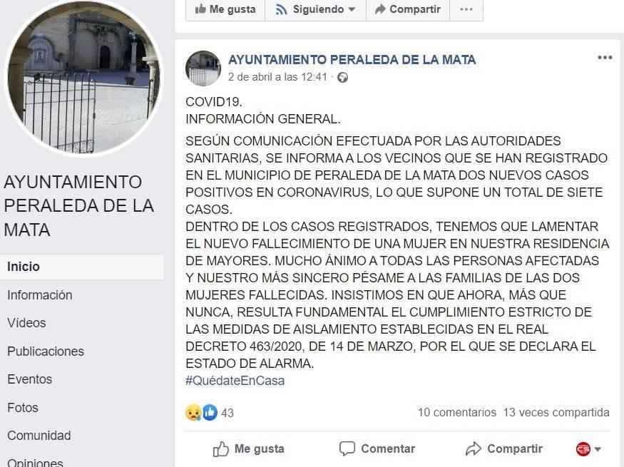 Sexto y séptimo positivo y segundo fallecido por coronavirus en Peraleda de la Mata (Cáceres) 2020