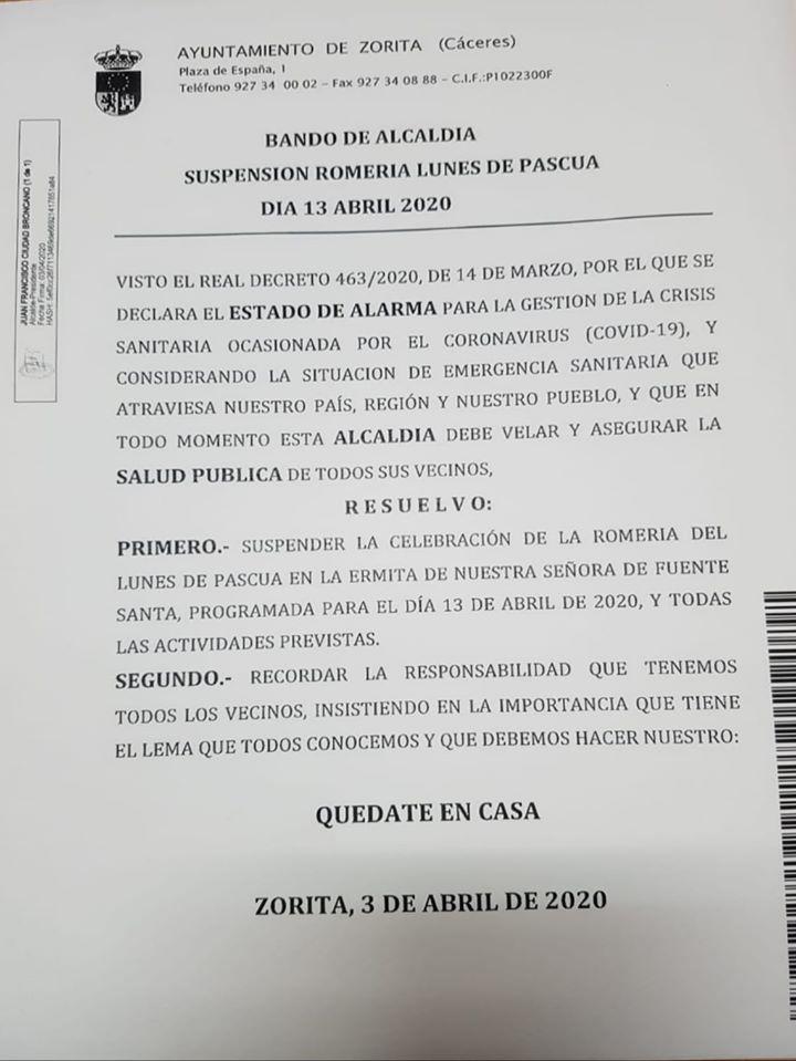 Su suspende la romería del Lunes de Pascua 2020 de Zorita (Cáceres)