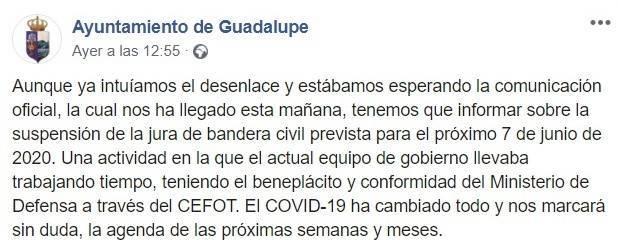 Suspendida la Jura de Bandera civil 2020 - Guadalupe (Cáceres)