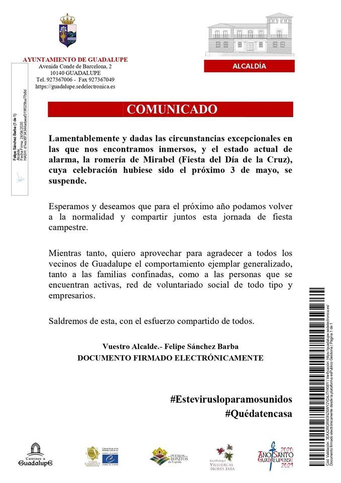 Suspendida la romería de Mirabel 2020 - Guadalupe (Cáceres)