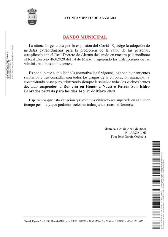 Suspendida la romería de San Isidro 2020 - Alameda (Málaga)