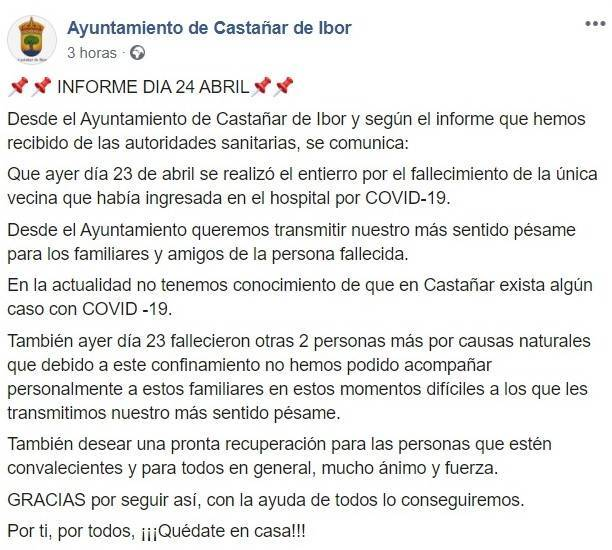 Tercer fallecido por coronavirus 2020 - Castañar de Ibor (Cáceres)
