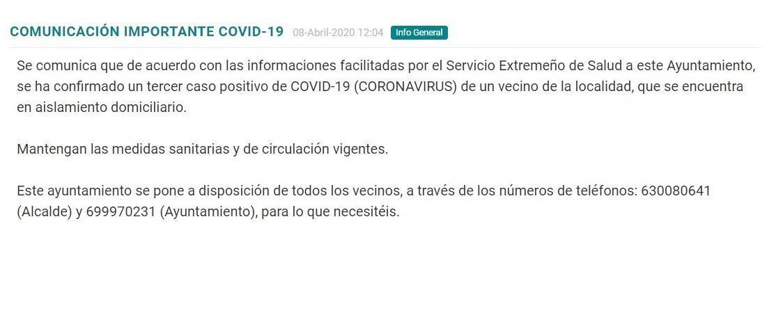 Tercer positivo y fallecido por coronavirus en Torremocha (Cáceres) 2020 1