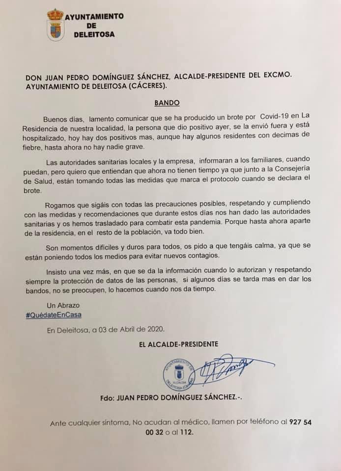 Tercer y cuarto positivo por coronavirus en Deleitosa (Cáceres) 2020