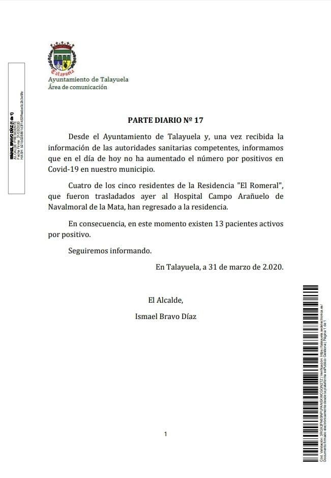 Trece positivos por coronavirus en Talayuela (Cáceres) 2020