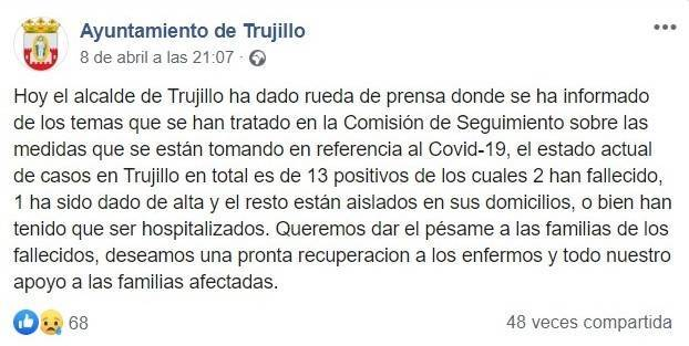 Trece positivos por coronavirus en Trujillo (Cáceres) 2020