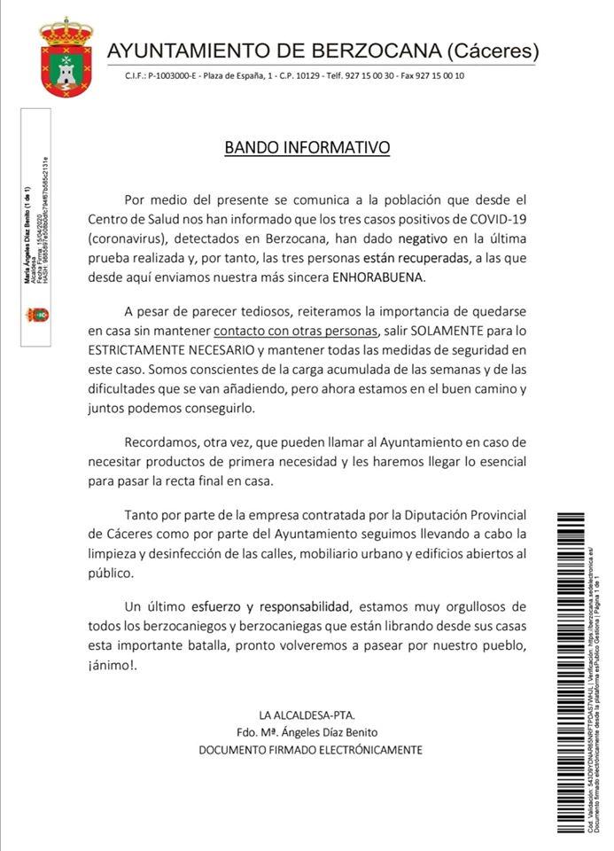 Tres recuperados por coronavirus en Berzocana (Cáceres) 2020