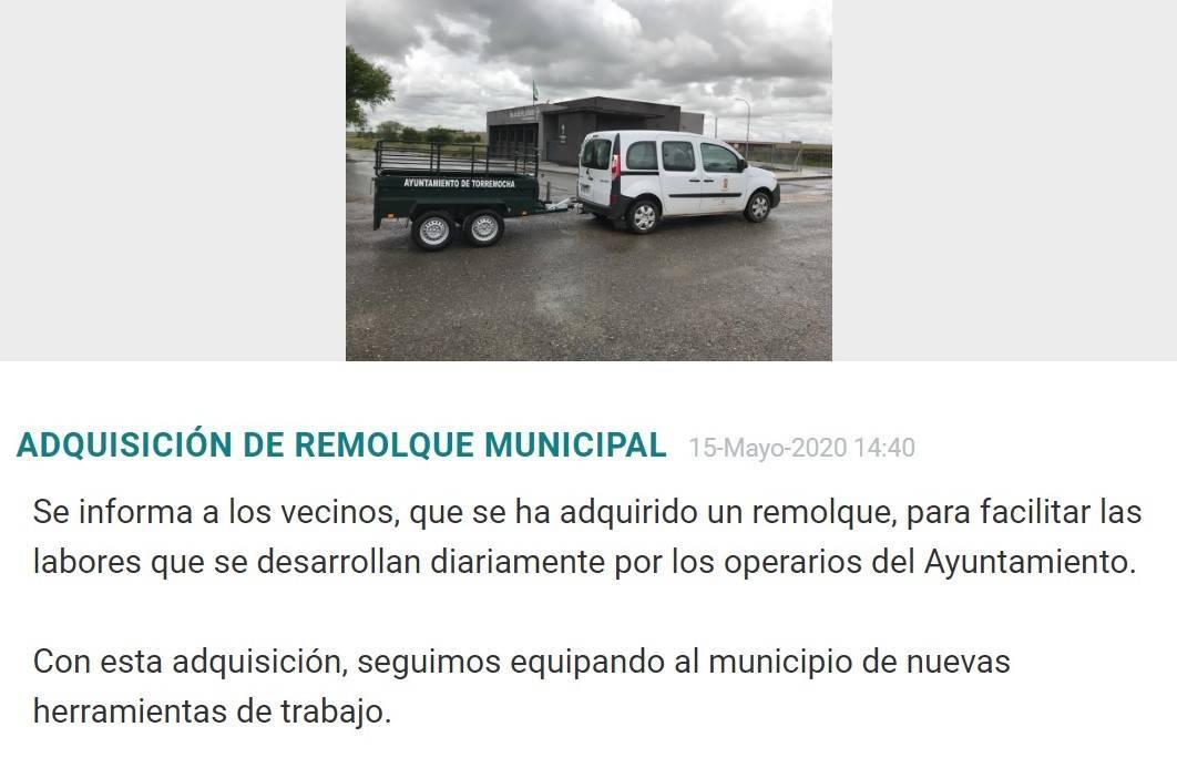 Adquisición de remolque municipal 2020 - Torremocha (Cáceres)