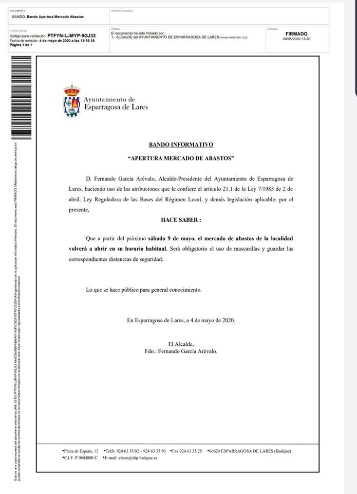 Apertura del mercado de abastos 2020 - Esparragosa de Lares (Badajoz)