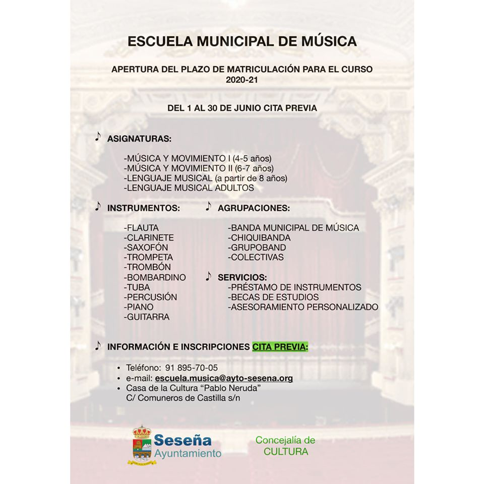 Apertura plazo de matriculación escuela de música 2020-2021 - Seseña (Toledo)
