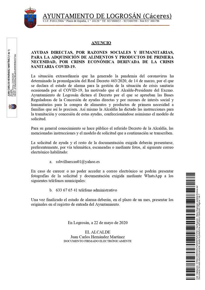 Ayudas de productos de primera necesidad por el COVID-19 2020 - Logrosán (Cáceres)