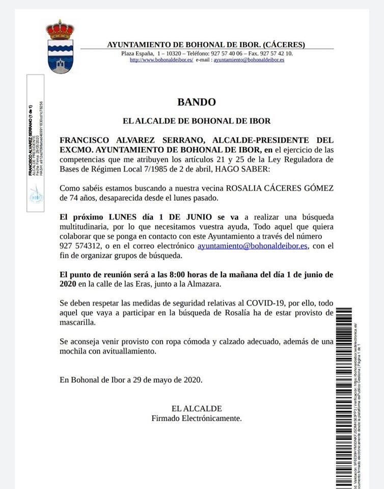 Búsqueda multitudinaria por Rosalía Cáceres Gómez 2020 - Bohonal de Ibor (Cáceres)
