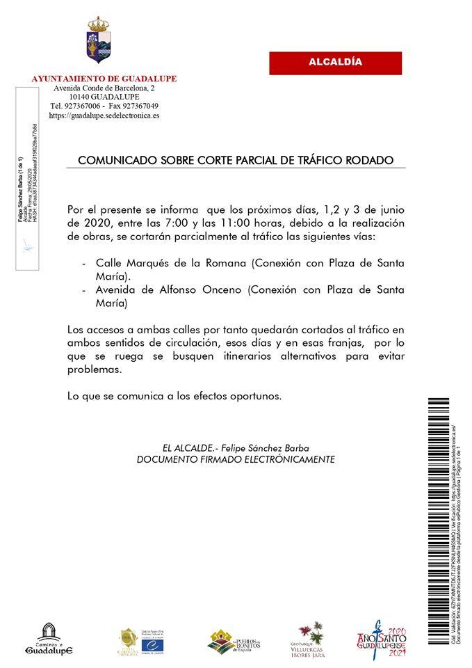Corte parcial de tráfico rodado junio 2020 - Guadalupe (Cáceres)