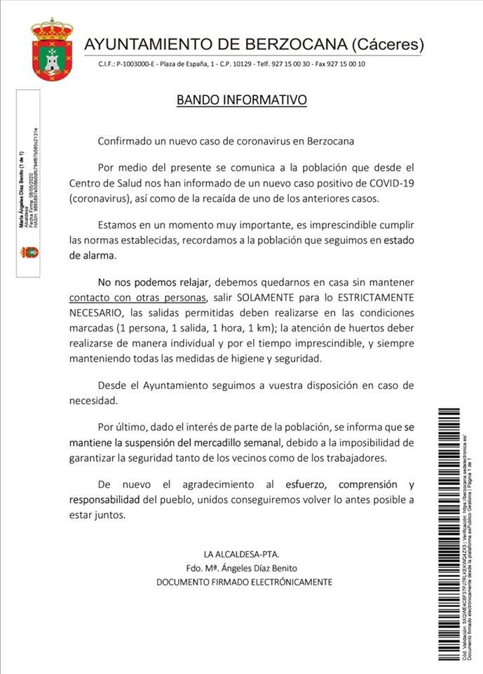 Cuarto positivo por coronavirus 2020 - Berzocana (Cáceres)