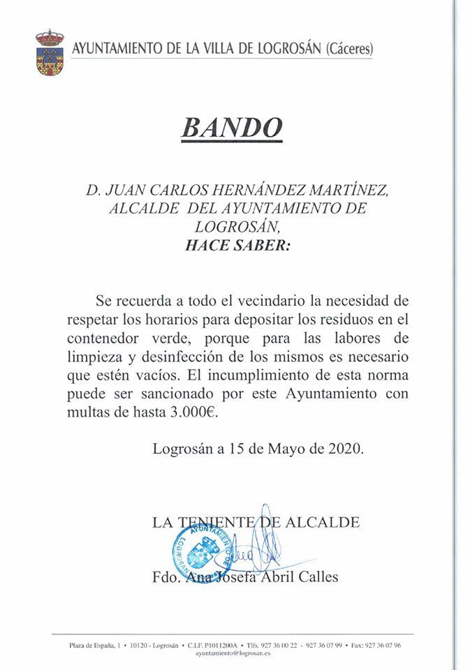 Incumplimiento del horario para tirar la basura 2020 - Logrosán (Cáceres)
