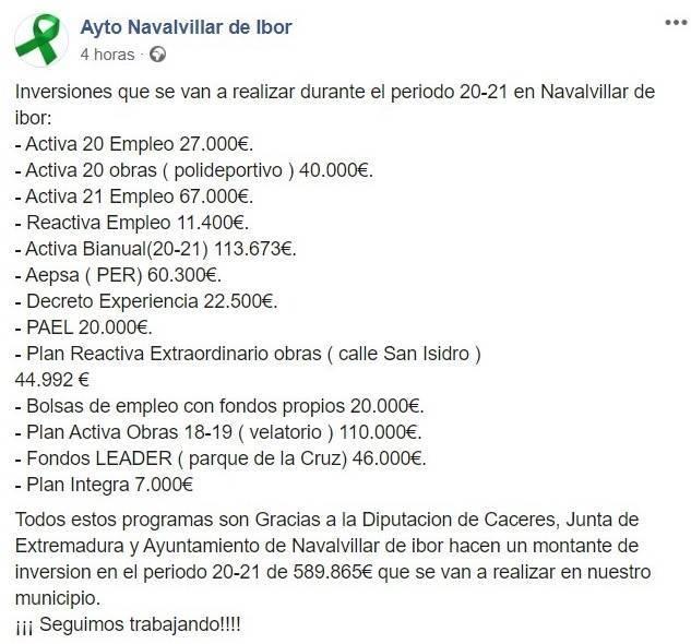 Inversiones periodo 2020-2021 - Navalvillar de Ibor (Cáceres)