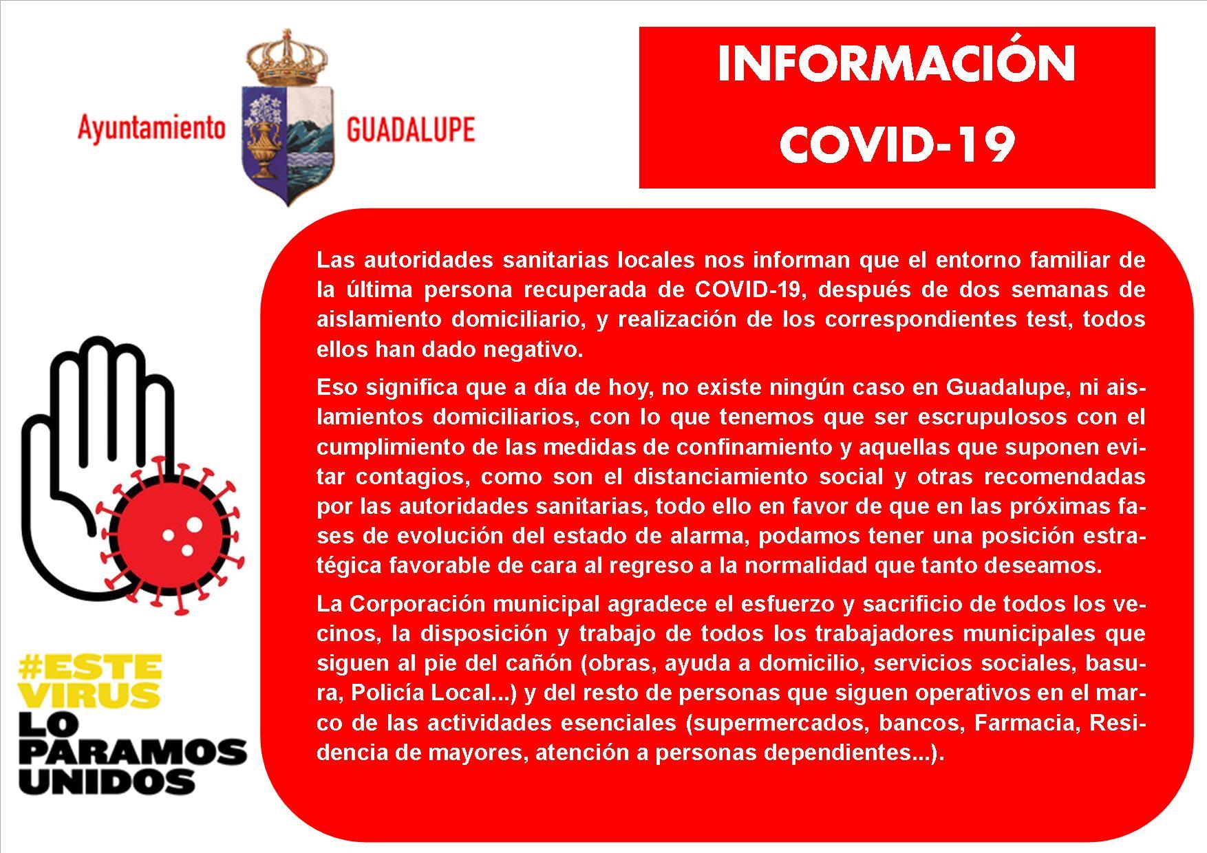 La familia del segundo recuperado por coronavirus dan negativo 2020 - Guadalupe (Cáceres)