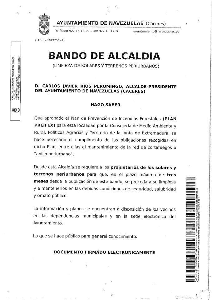 Limpieza de solares 2020 - Navezuelas (Cáceres)