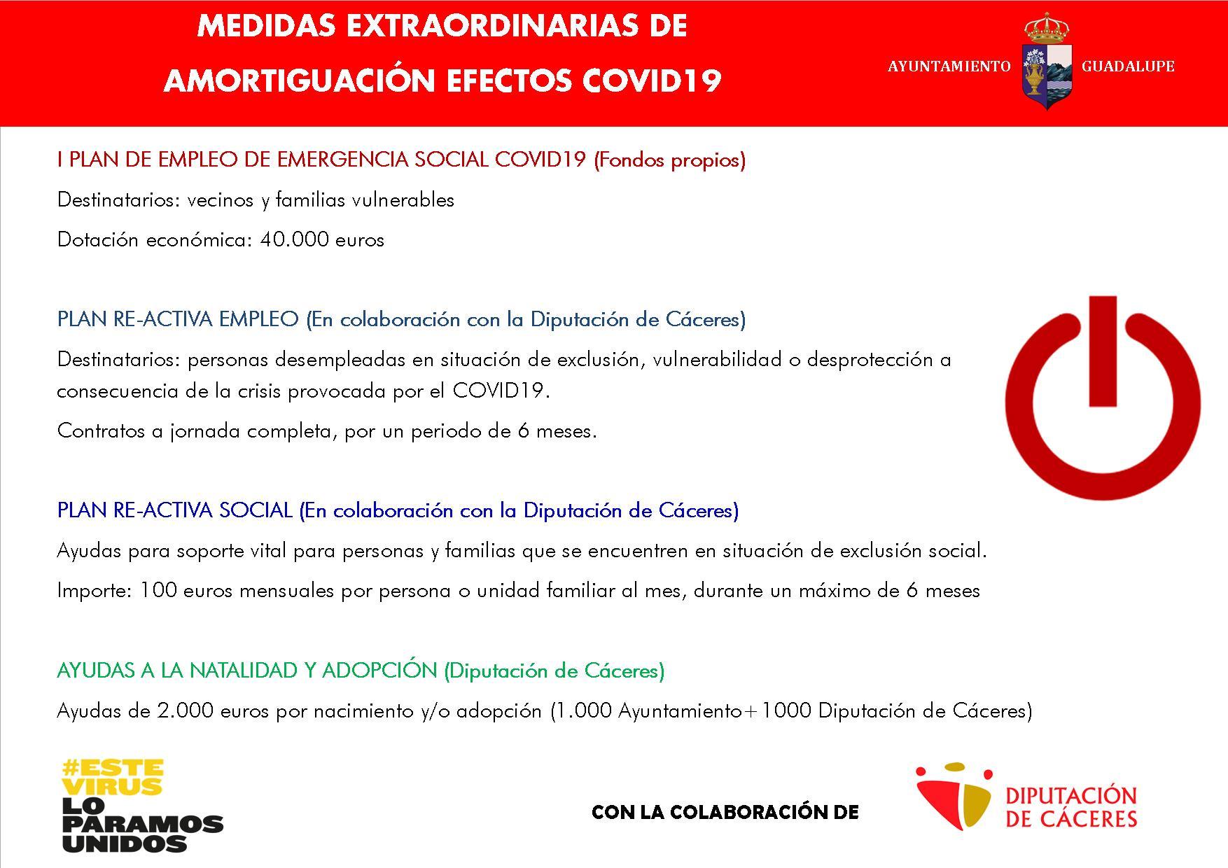Medidas extraordinarias de amortiguación COVID-19 2020 - Guadalupe (Cáceres)