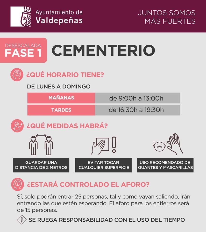Medidas y horarios del cementerio en la desescalada fase 1 2020 - Valdepeñas (Ciudad Real)