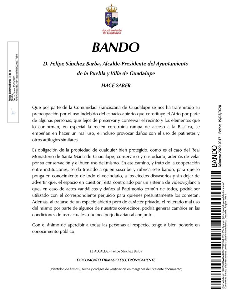 Protección ante el mal uso del atrio 2020 - Guadalupe (Cáceres)