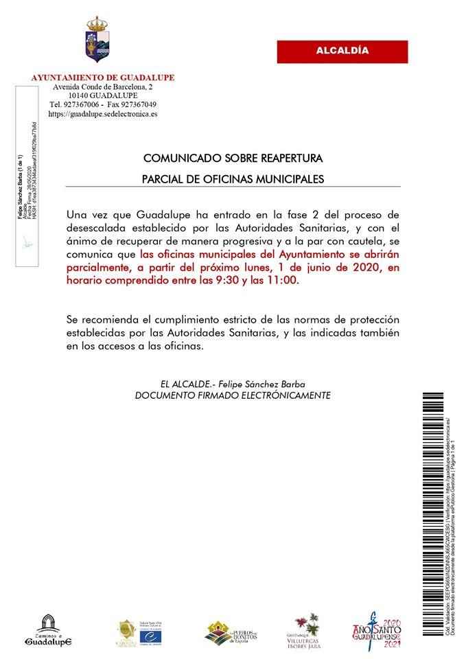 Reapertura parcial de las oficinas municipales 2020 - Guadalupe (Cáceres)