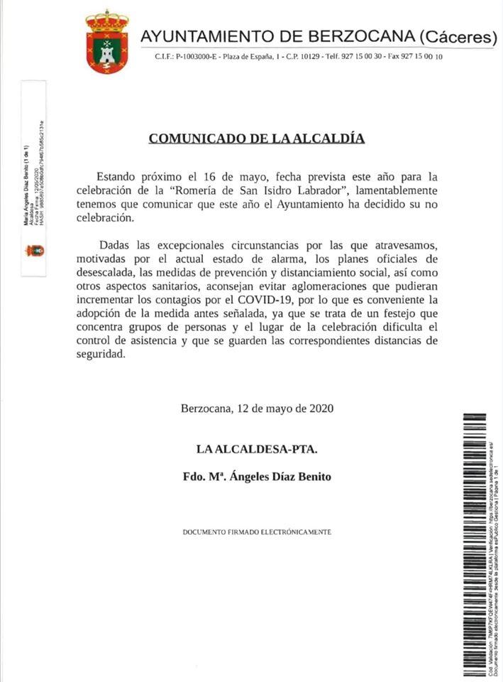 Se suspende la romería de San Isidro Labrador 2020 - Berzocana (Cáceres)
