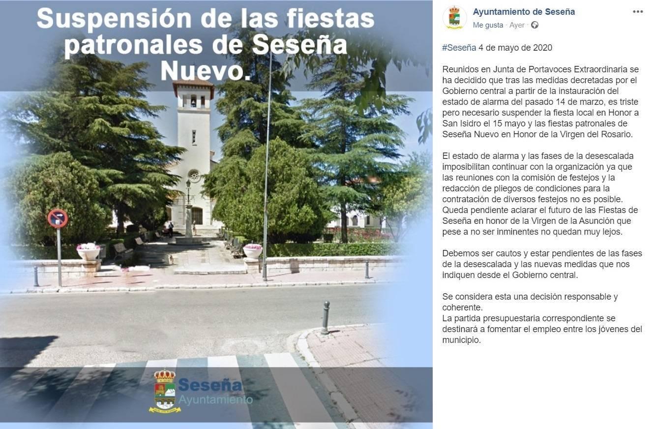 Se suspenden las fiestas patronales 2020 - Seseña (Toledo)