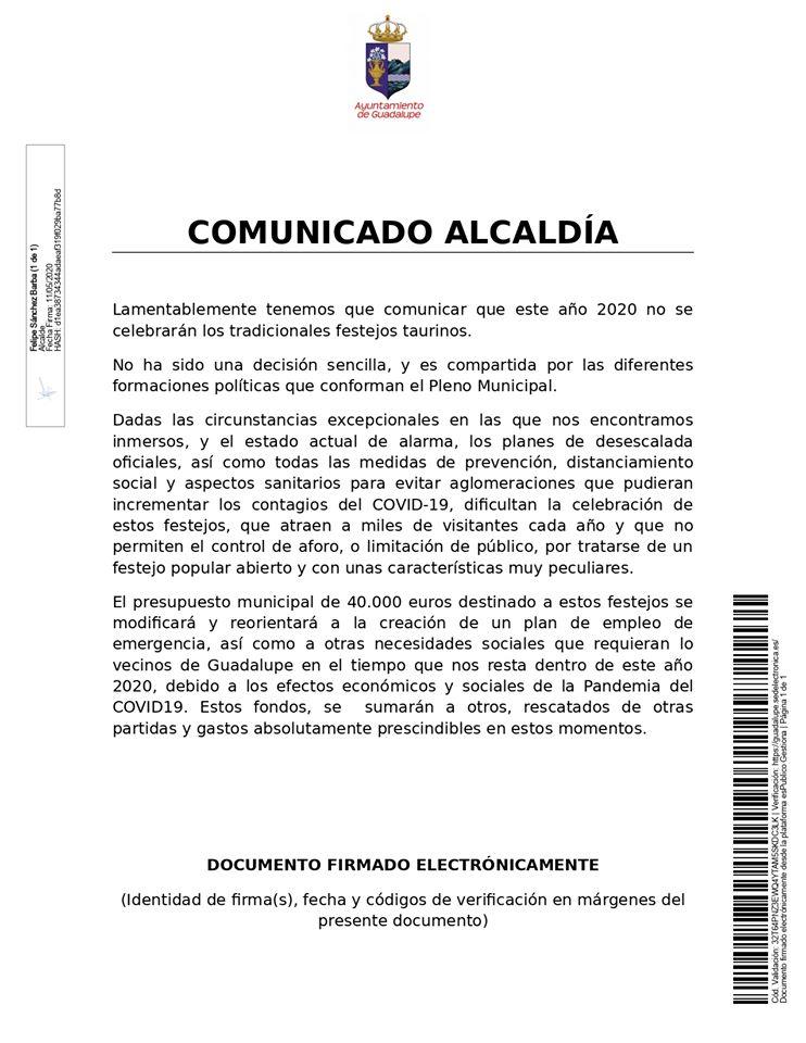 Se suspenden los festejos taurinos 2020 - Guadalupe (Cáceres)