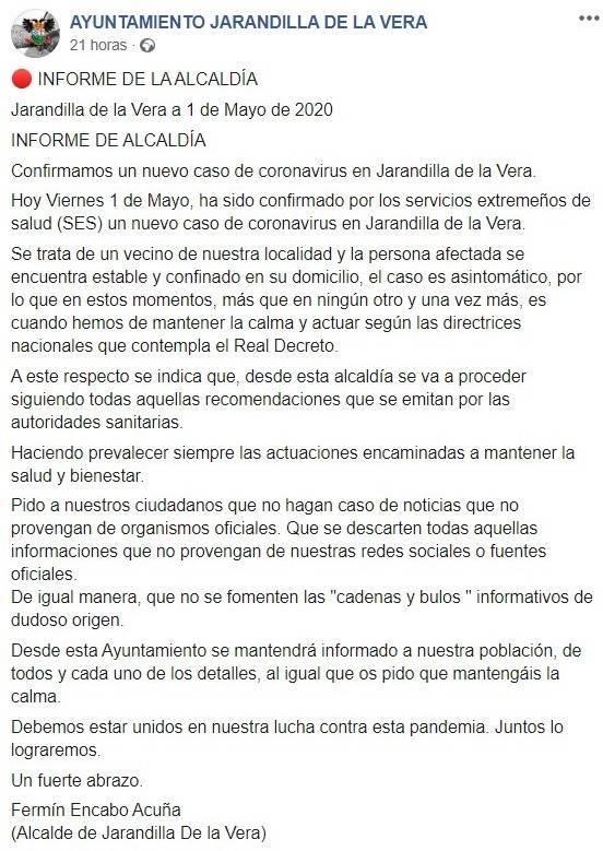 Segundo positivo por coronavirus 2020 - Jarandilla de la Vera (Cáceres)