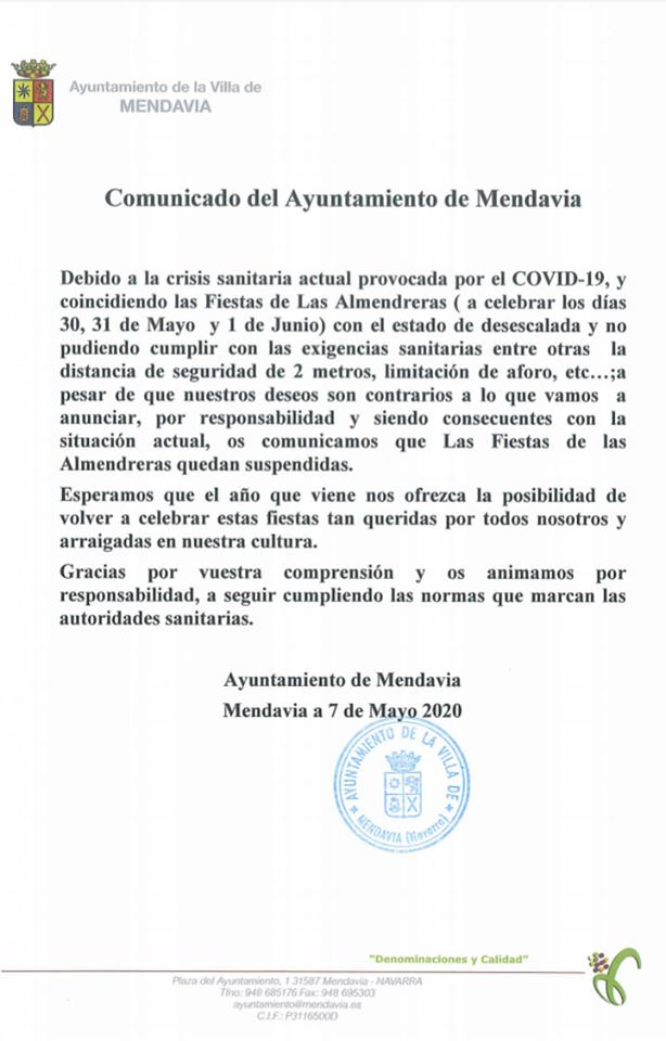 Suspendida la fiesta de las Almendreras 2020 - Mendavia (Navarra) 1