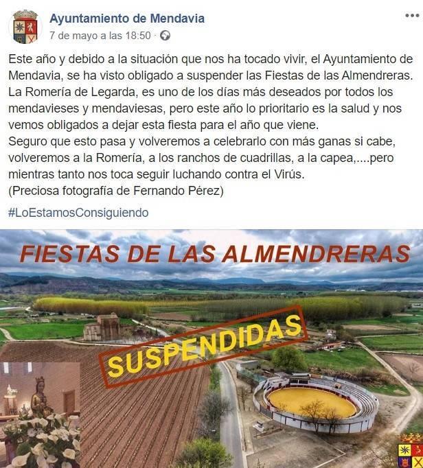 Suspendida la fiesta de las Almendreras 2020 - Mendavia (Navarra) 2