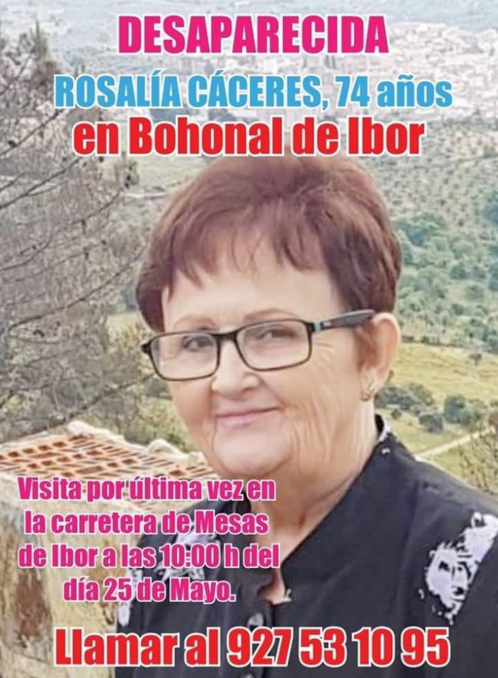 Una mujer desaparece mayo 2020 - Bohonal de Ibor (Cáceres)