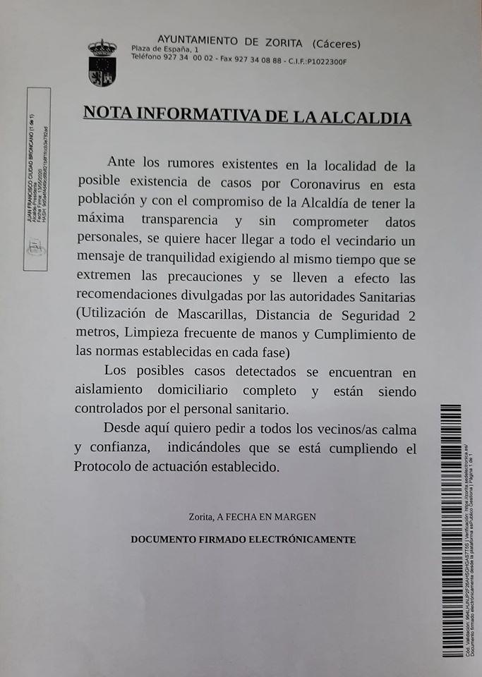 Varios posibles positivos por coronavirus 2020 - Zorita (Cáceres)