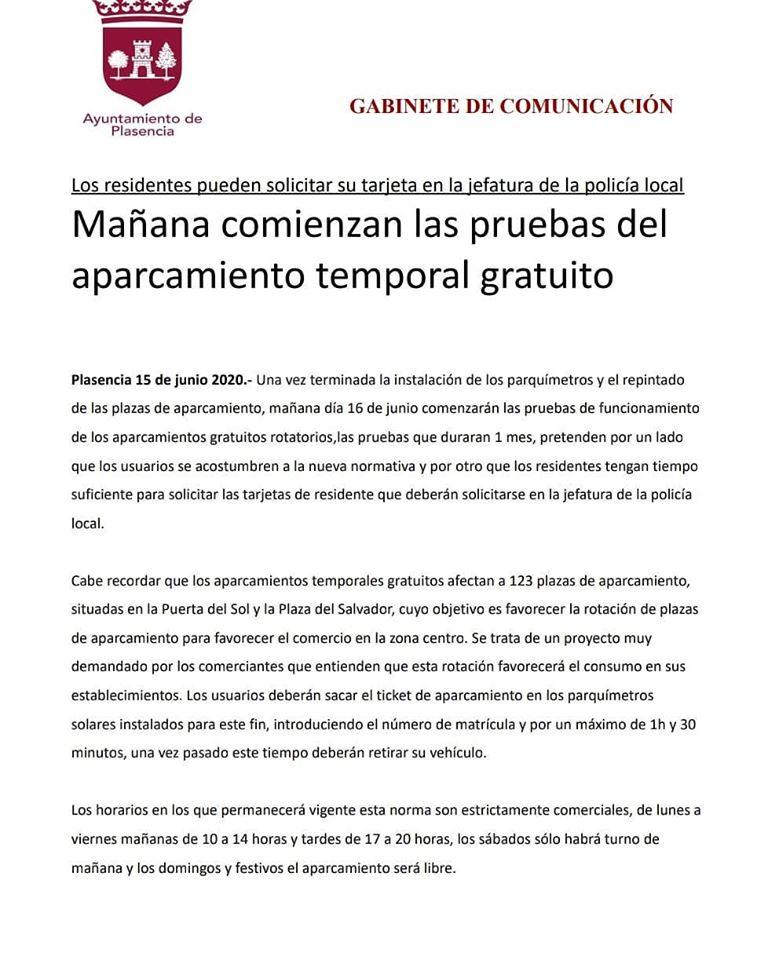 Aparcamiento temporal gratuito 2020 - Plasencia (Cáceres)