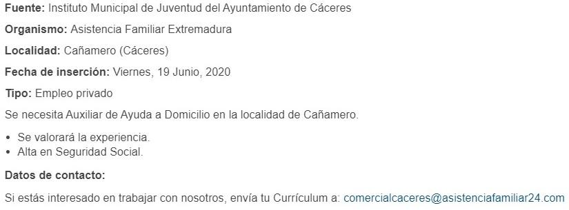 Auxiliar de ayuda a domicilio 2020 - Cañamero (Cáceres)