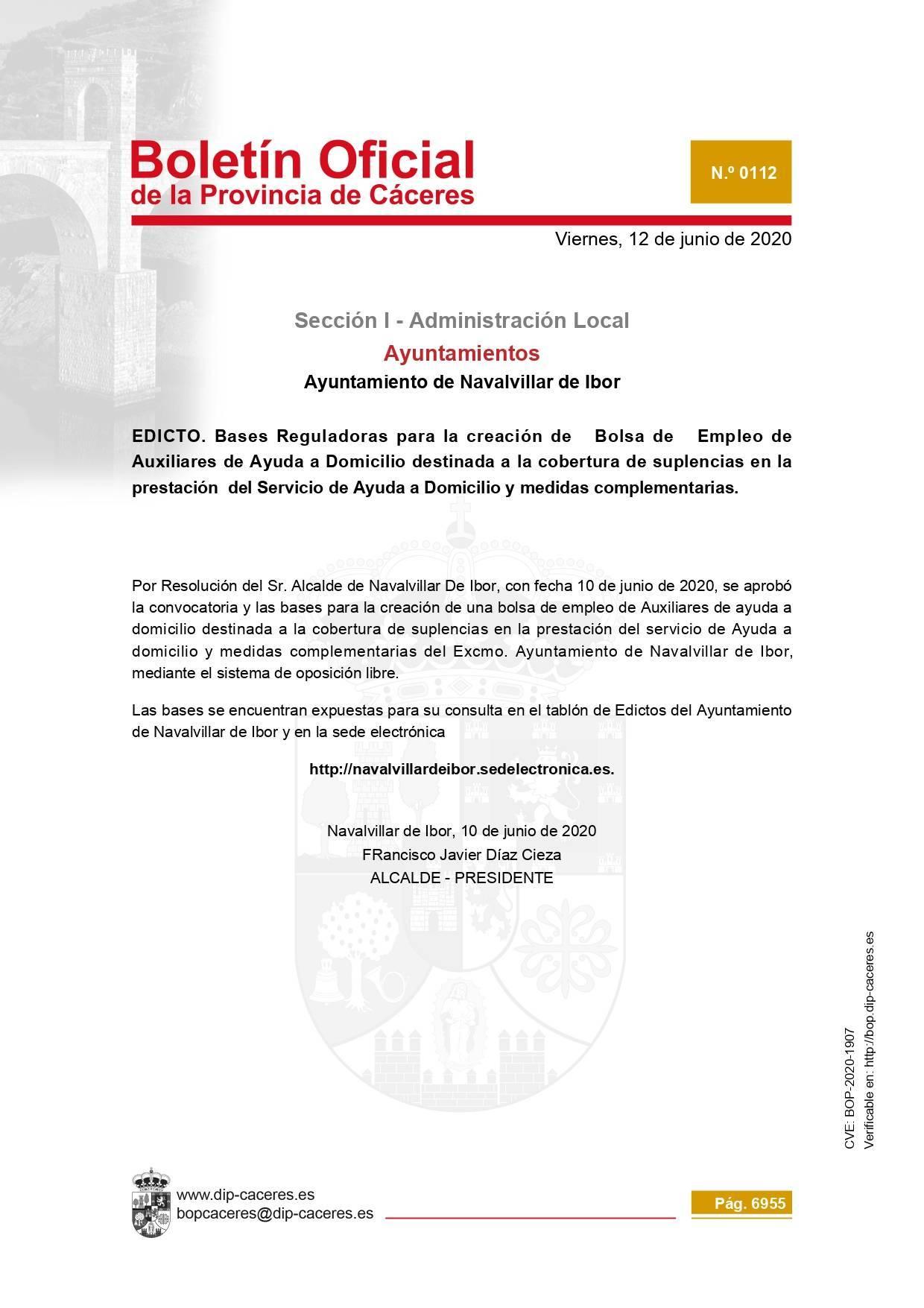 Bolsa de auxiliares de ayuda a domicilio 2020 - Navalvillar de Ibor (Cáceres)