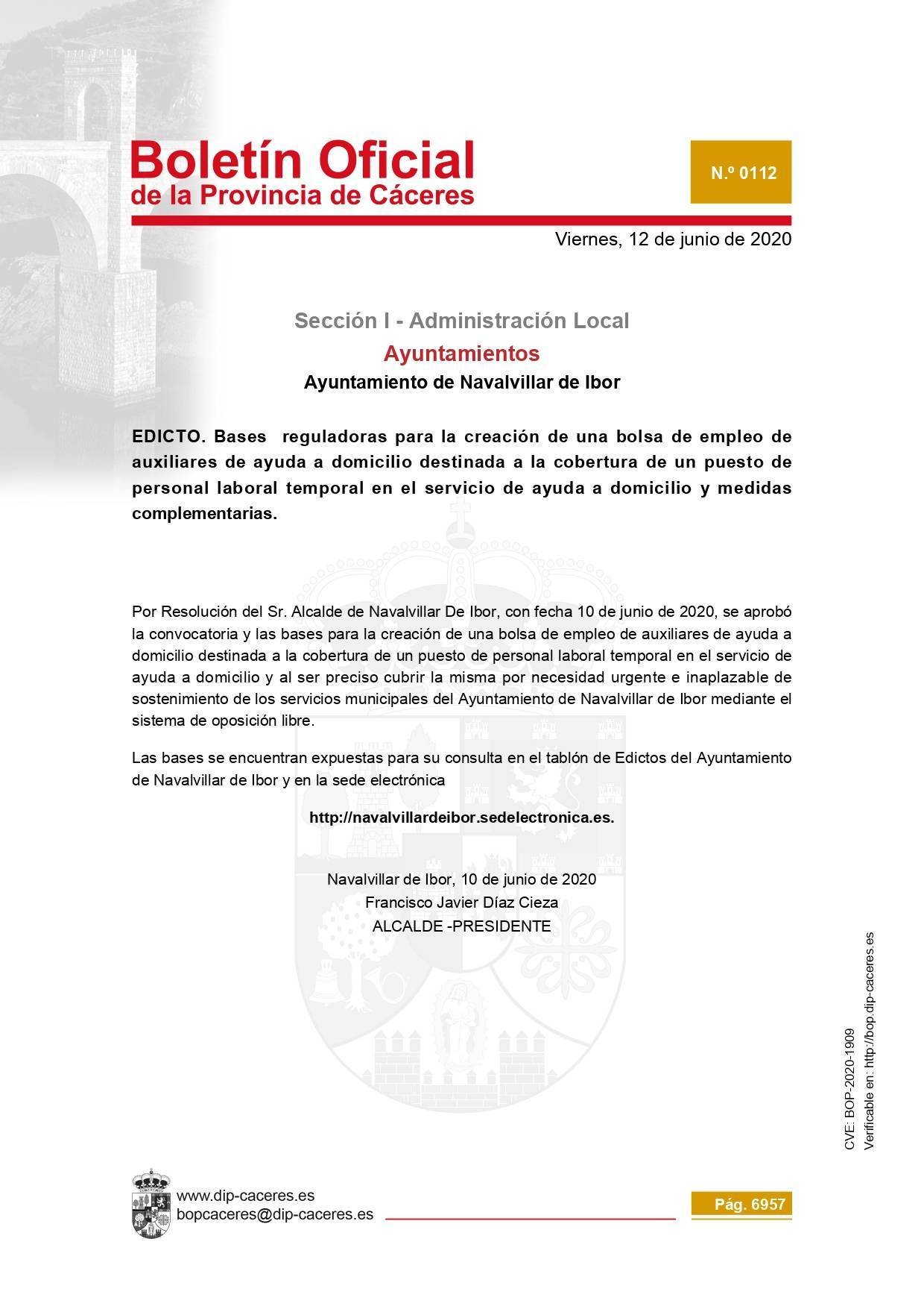 Bolsa de auxiliares de ayuda a domicilio temporal 2020 - Navalvillar de Ibor (Cáceres)