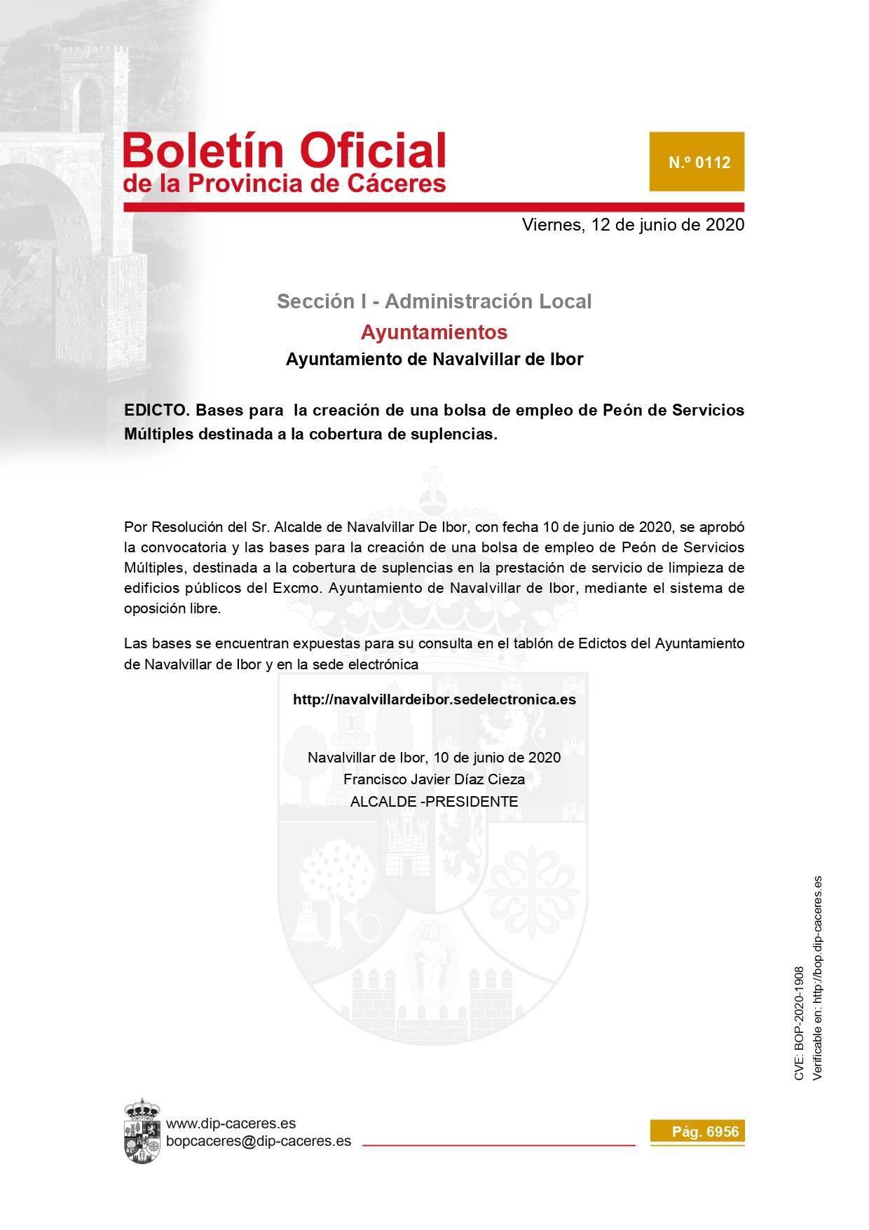 Bolsa de peón de servicios múltiples 2020 - Navalvillar de Ibor (Cáceres)