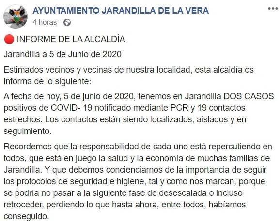 Cuarto positivo por COVID-19 2020 - Jarandilla de la Vera (Cáceres)