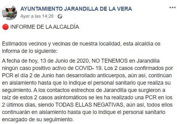 Dos recuperados por COVID-19 junio 2020 - Jarandilla de la Vera (Cáceres)