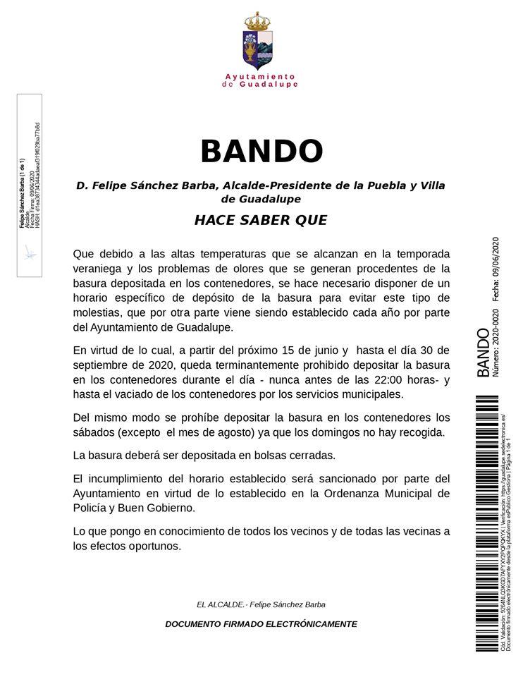 Horarios depósito de basura verano 2020 - Guadalupe (Cáceres)
